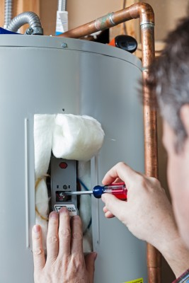 plumbing contractor maintains American Standard 40 gallon water heater