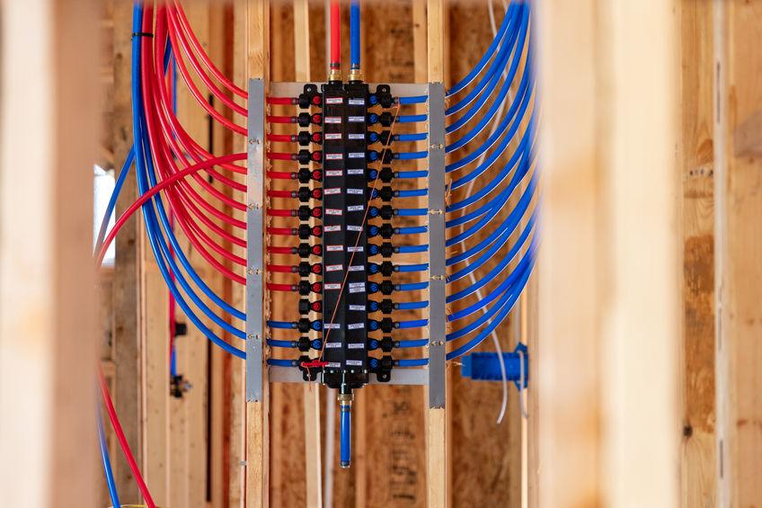PEX pipe manifold installed in Orinda home